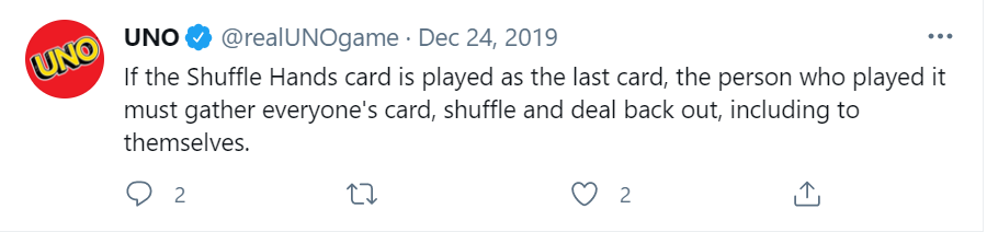 shuffle hands meaning in uno explained on twitter image